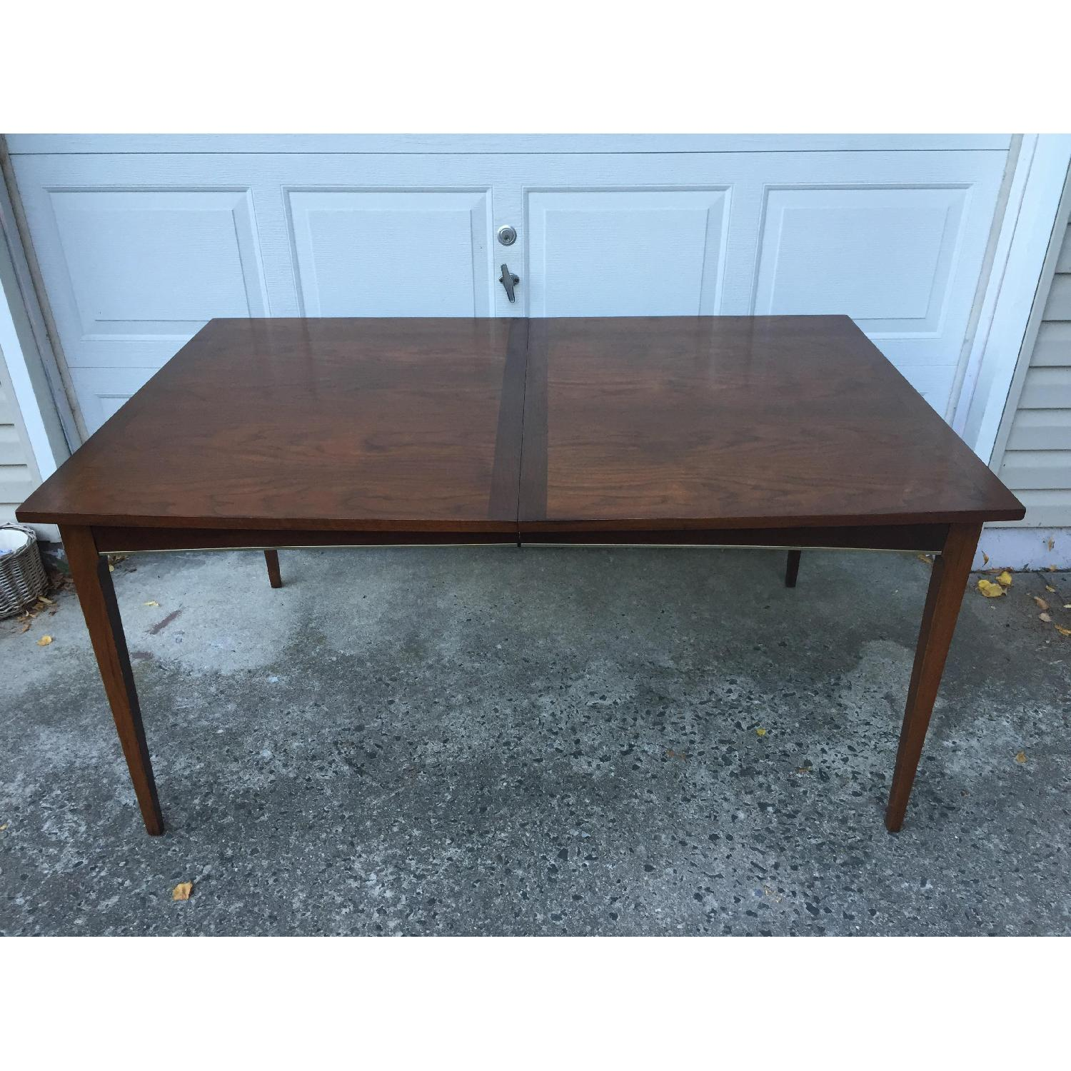 Mid Century Modern Walnut Dining Table with Brass Accents - image-6