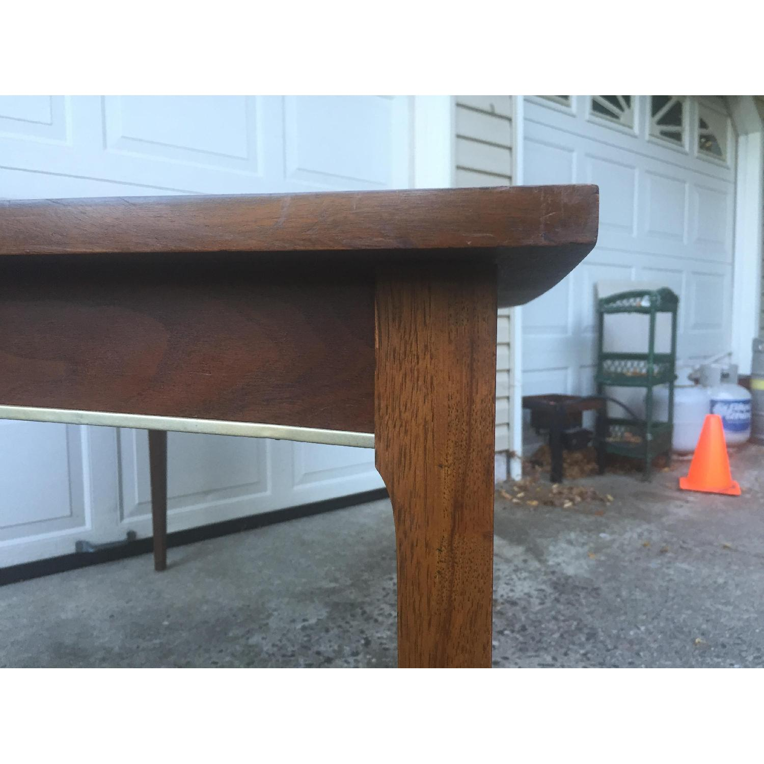 Mid Century Modern Walnut Dining Table with Brass Accents - image-7