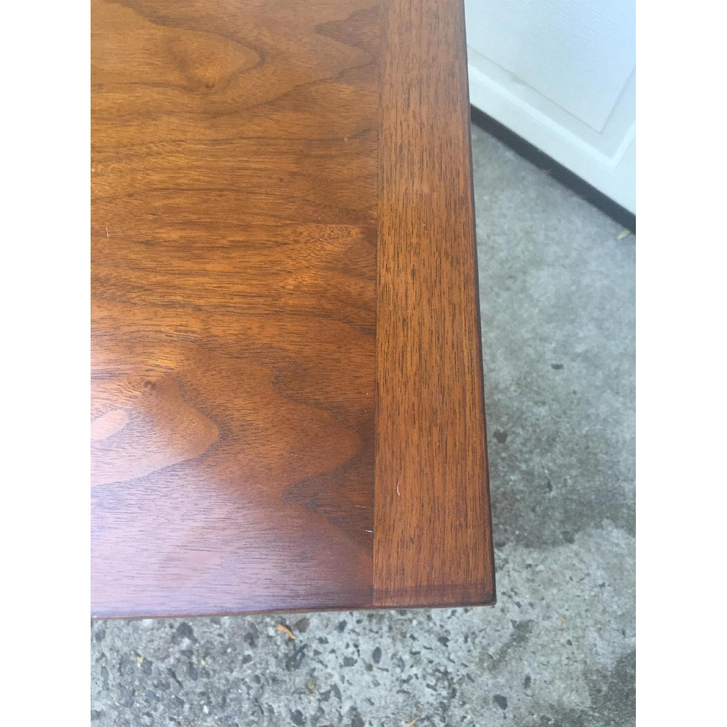 Mid Century Modern Walnut Dining Table with Brass Accents - image-12