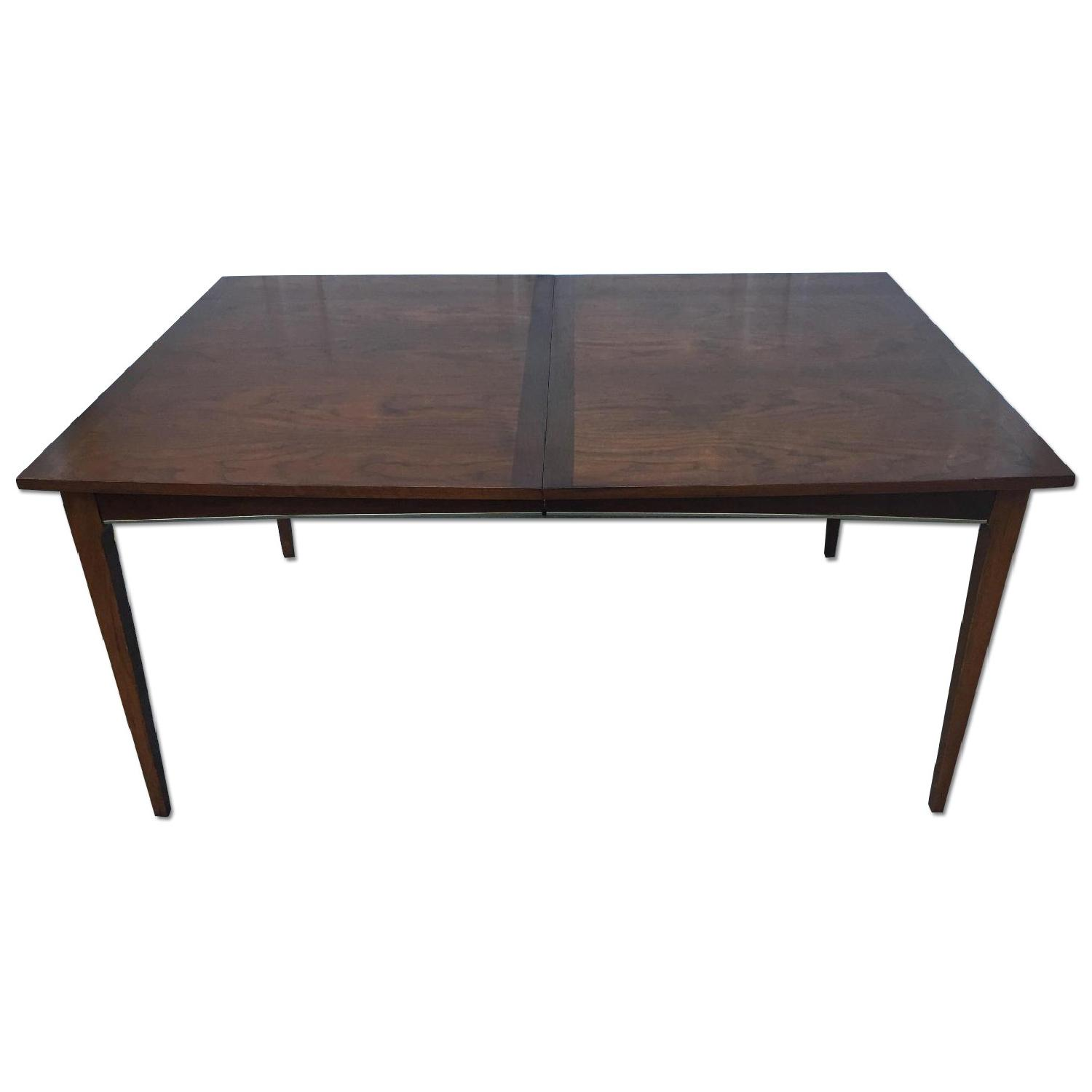 Mid Century Modern Walnut Dining Table with Brass Accents - image-0