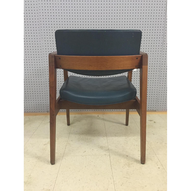 Gunlocke Mid Century Modern Blue Vinyl Chair with Walnut Frame - image-2