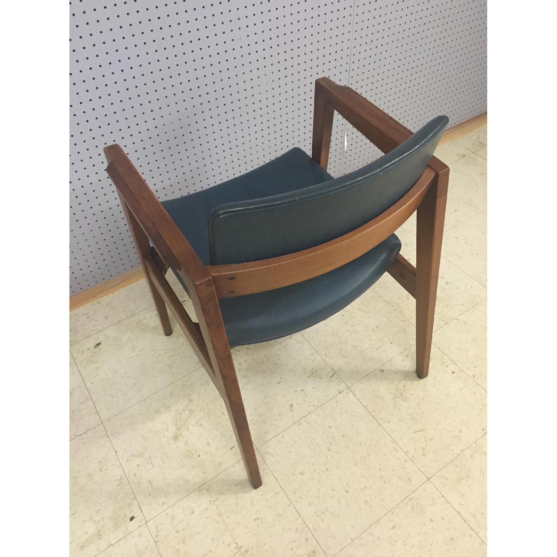 Gunlocke Mid Century Modern Blue Vinyl Chair with Walnut Frame - image-3