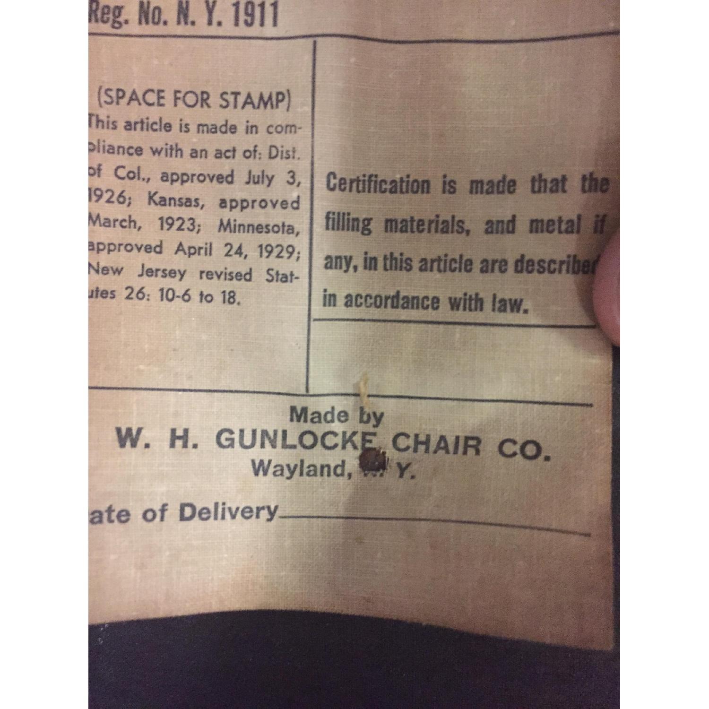 Gunlocke Mid Century Modern Blue Vinyl Chair with Walnut Frame - image-4
