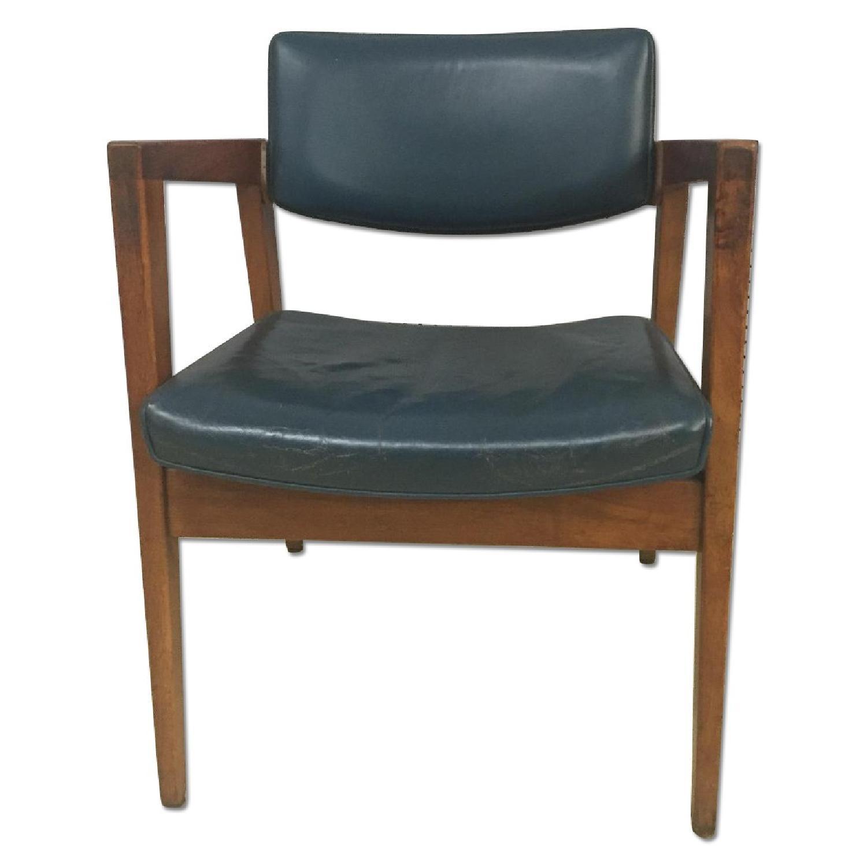 Gunlocke Mid Century Modern Blue Vinyl Chair with Walnut Frame - image-0