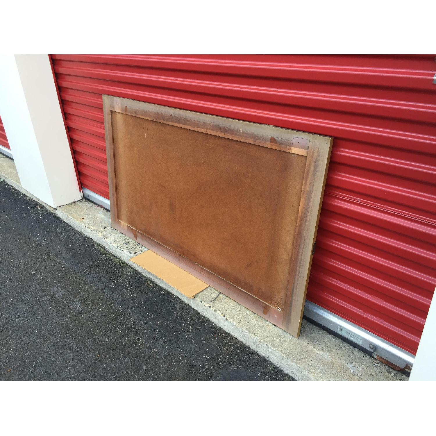 Mid Century Modern Wall Mirror with Beveled Edge and Brass Accents - image-7