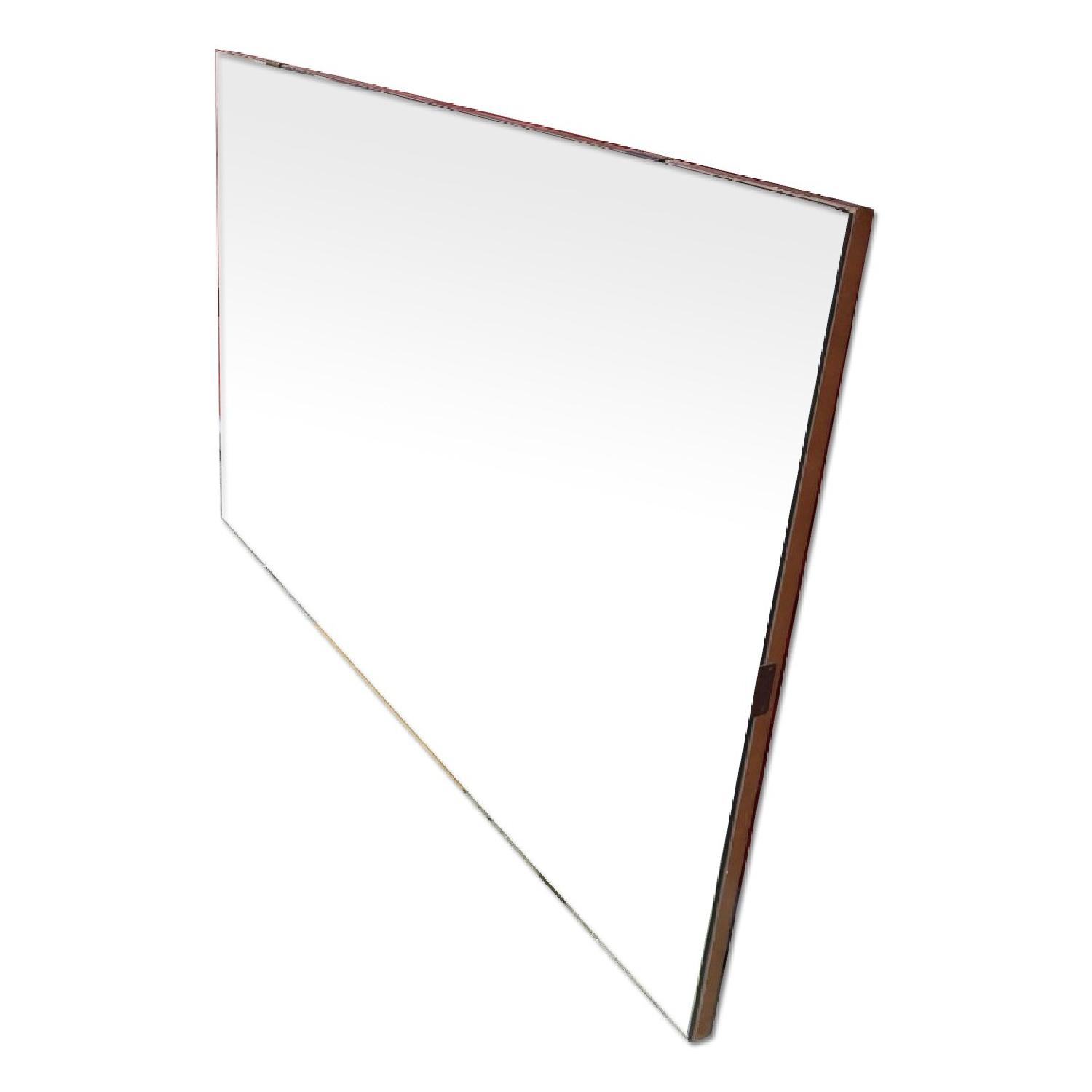 Mid Century Modern Wall Mirror with Beveled Edge and Brass Accents - image-0