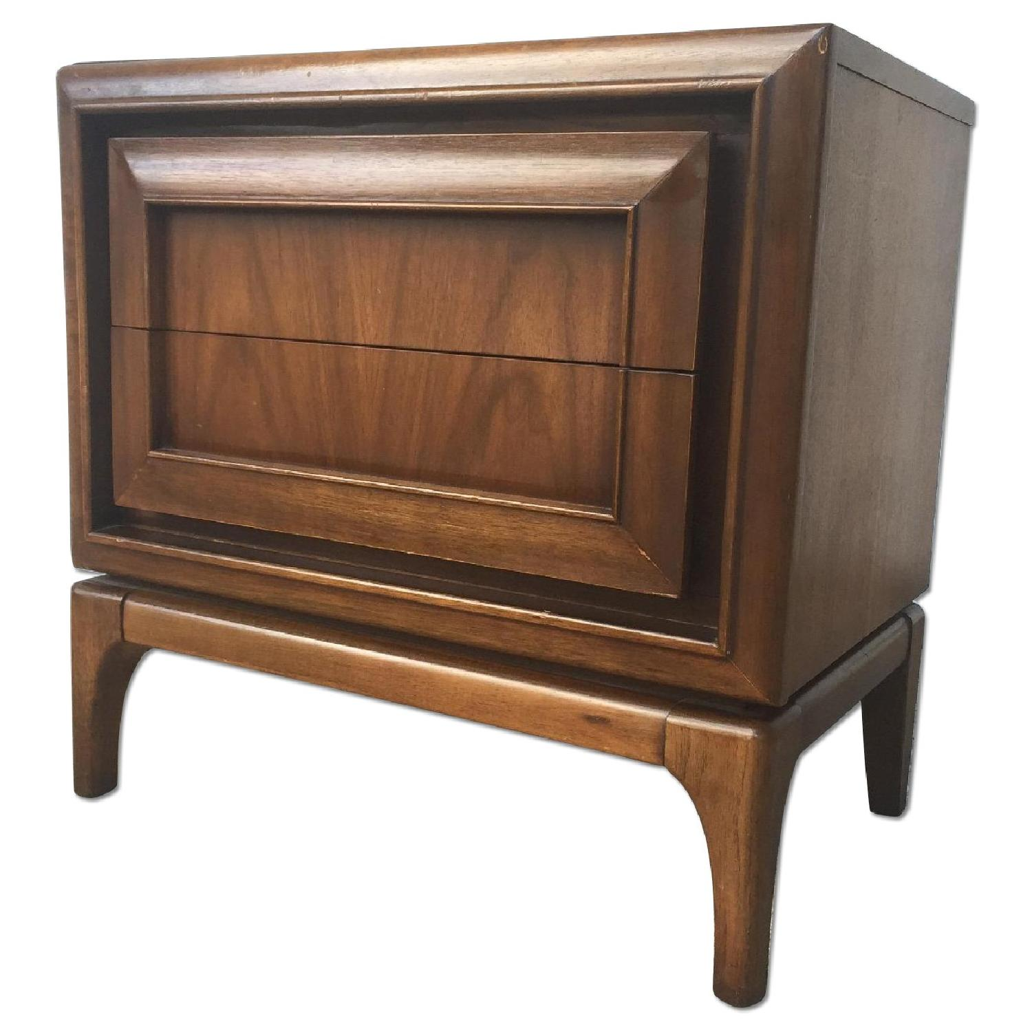 Mid Century Modern Two Drawer Night Stand - image-0