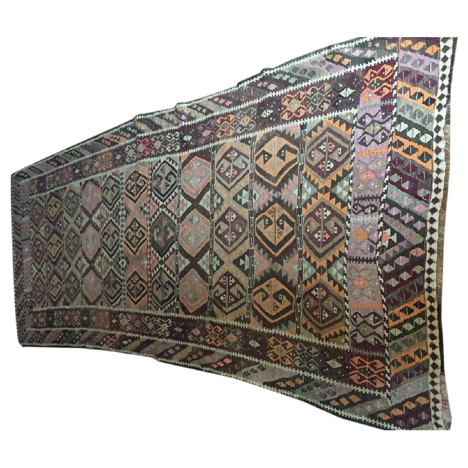 Turkish Antique Kilim Rug Runner - image-0