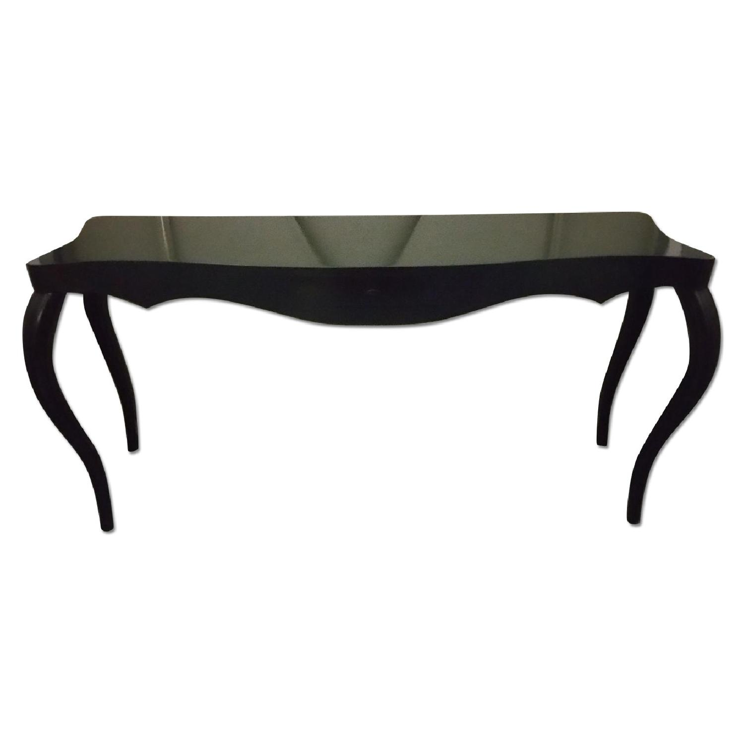 Slim Curve Long Table with Front Drawer - image-0