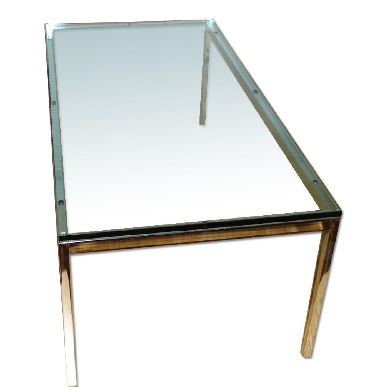Florence Knoll Glass Top Rectangular Coffee Table - image-0