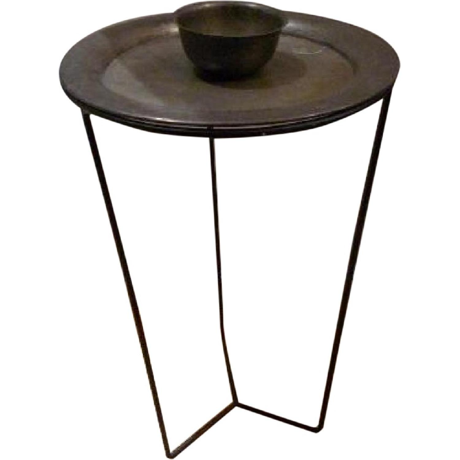 Antique Silver Plated Side Table - image-0