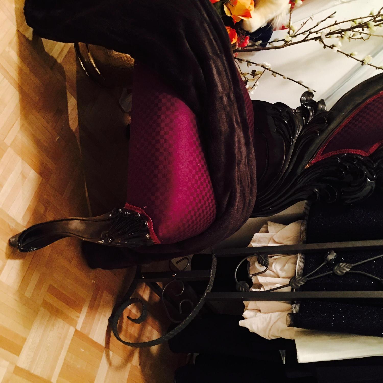 Purple & Black High Back Baroque Chair - image-1