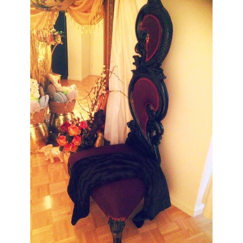 Purple & Black High Back Baroque Chair - image-7