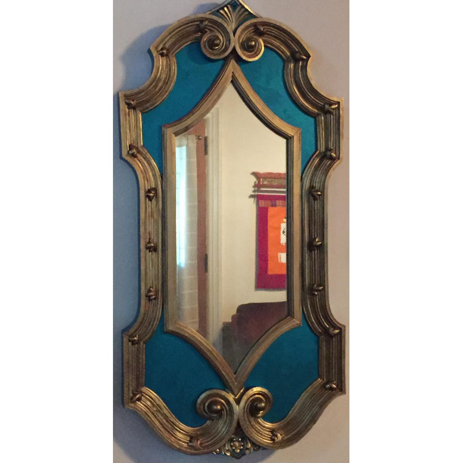 Vintage Hand-Painted & Detailed Hollywood Regency Oversized Mirror - image-1