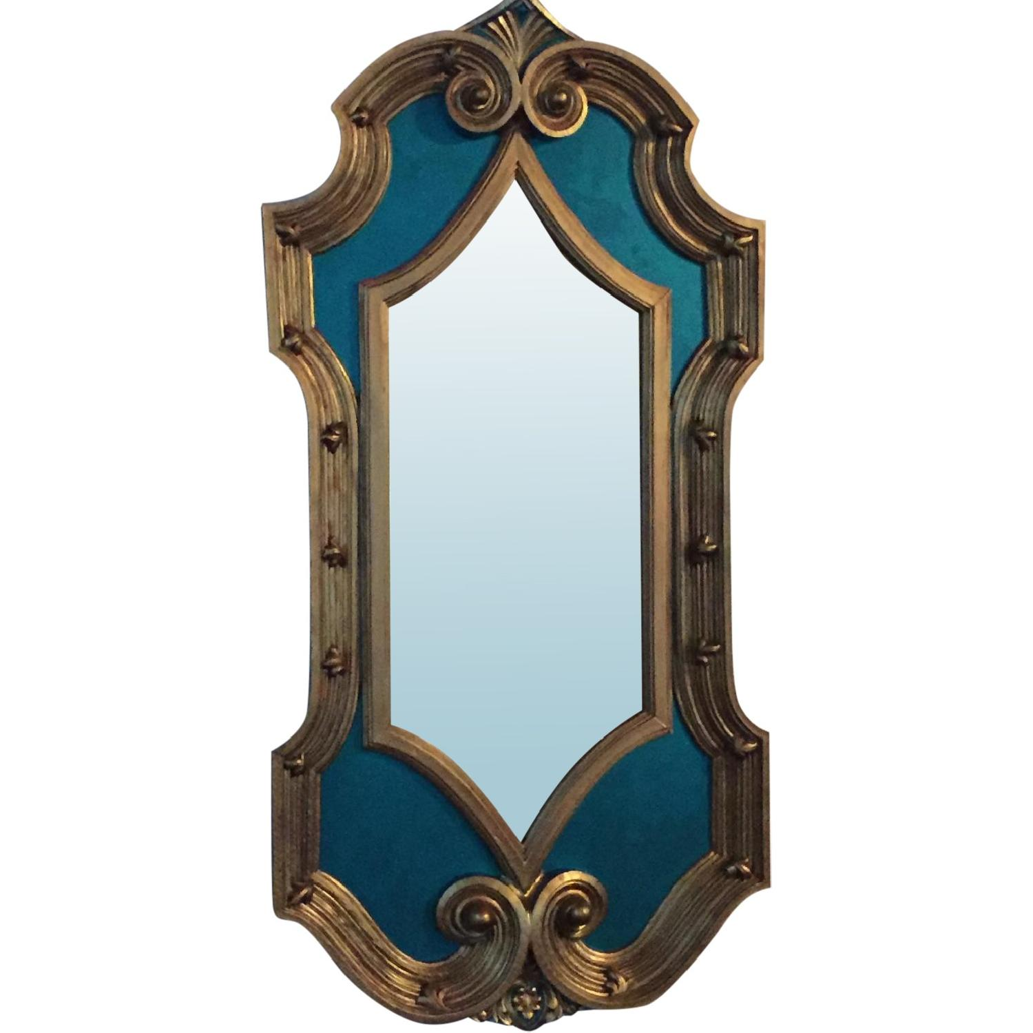 Vintage Hand-Painted & Detailed Hollywood Regency Oversized Mirror - image-0
