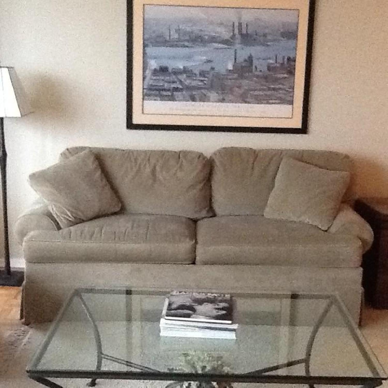 Ethan Allen Green Cotton Velvet Sleeper Sofa - image-1