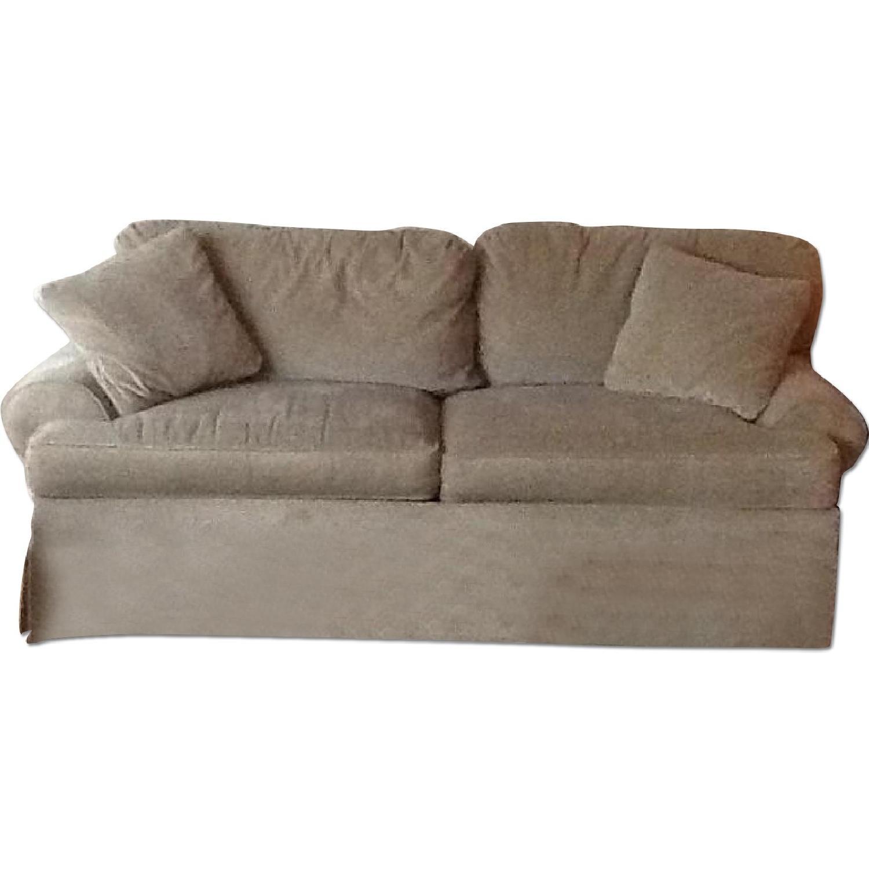 Ethan Allen Green Cotton Velvet Sleeper Sofa - image-0