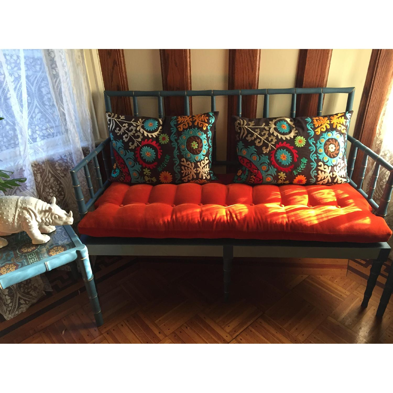 Vintage Hand Detailed & Painted Upholstered Faux Bamboo Settee - image-3