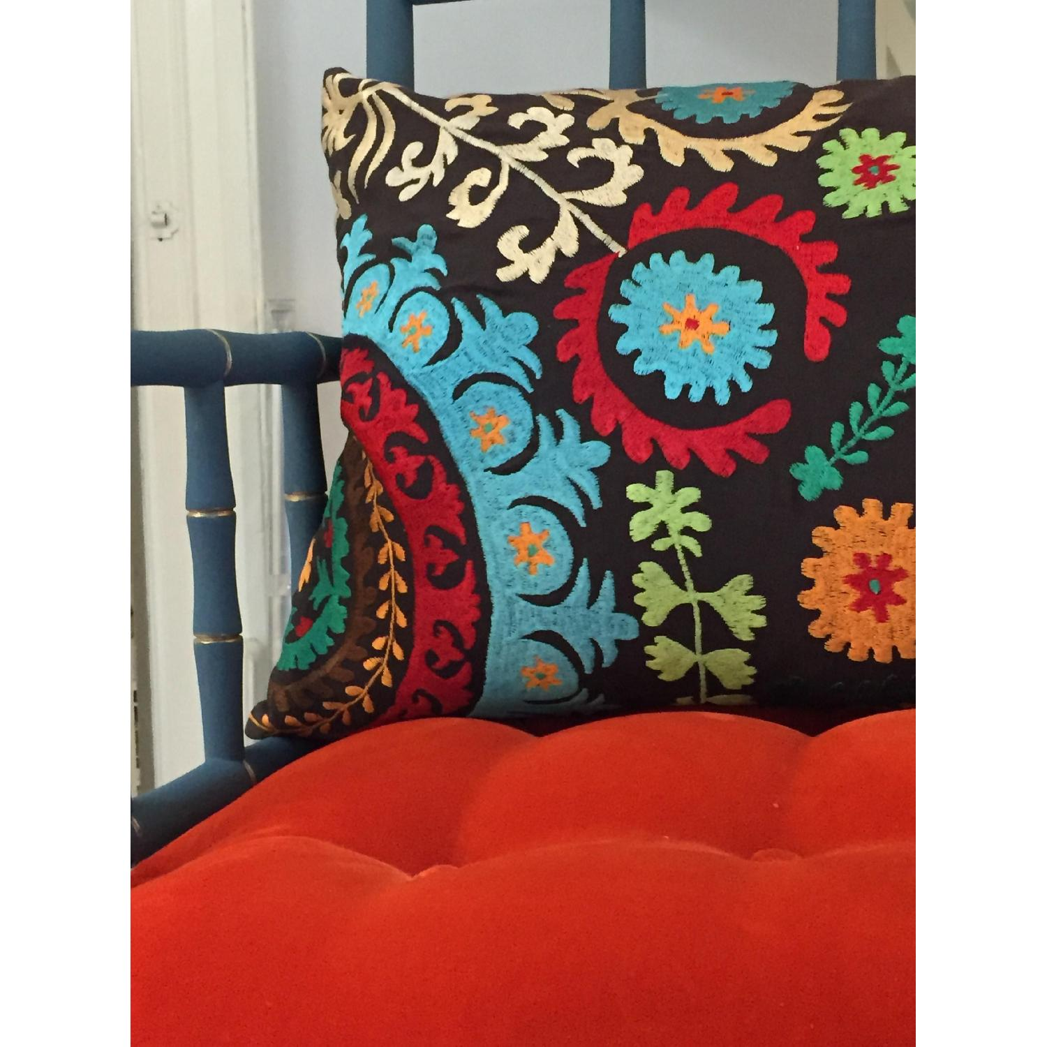 Vintage Hand Detailed & Painted Upholstered Faux Bamboo Settee - image-6