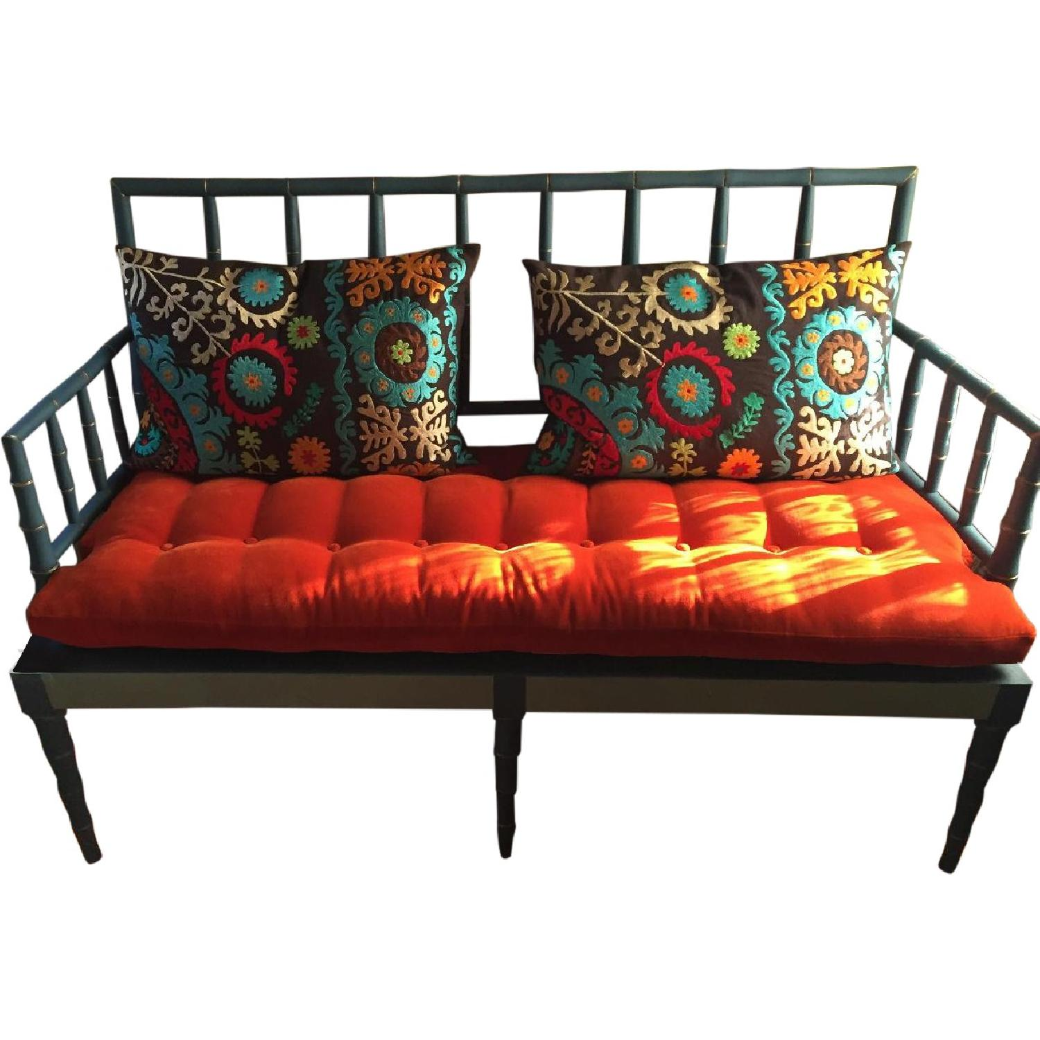 Vintage Hand Detailed & Painted Upholstered Faux Bamboo Settee - image-0