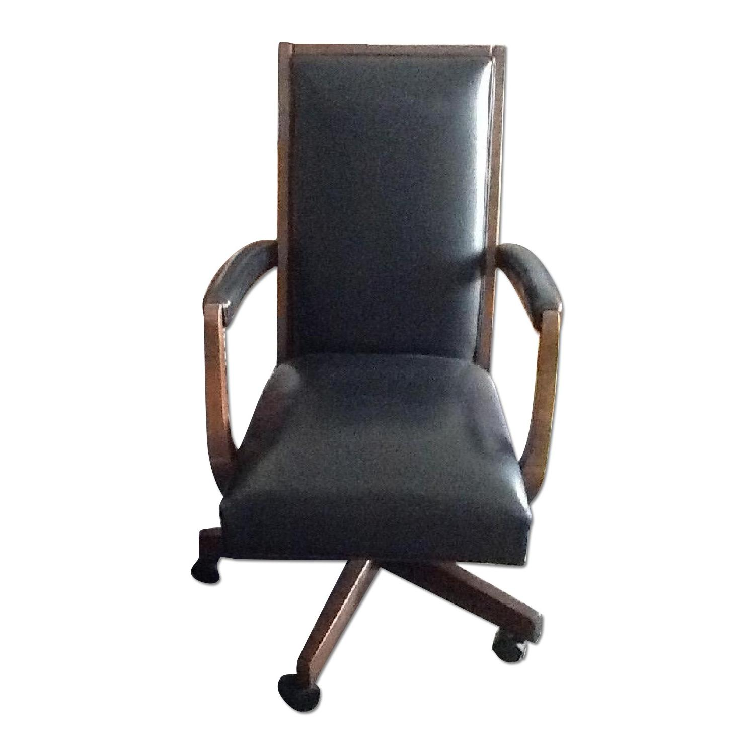 Ethan Allen Wood & Leather Desk Chair - image-0