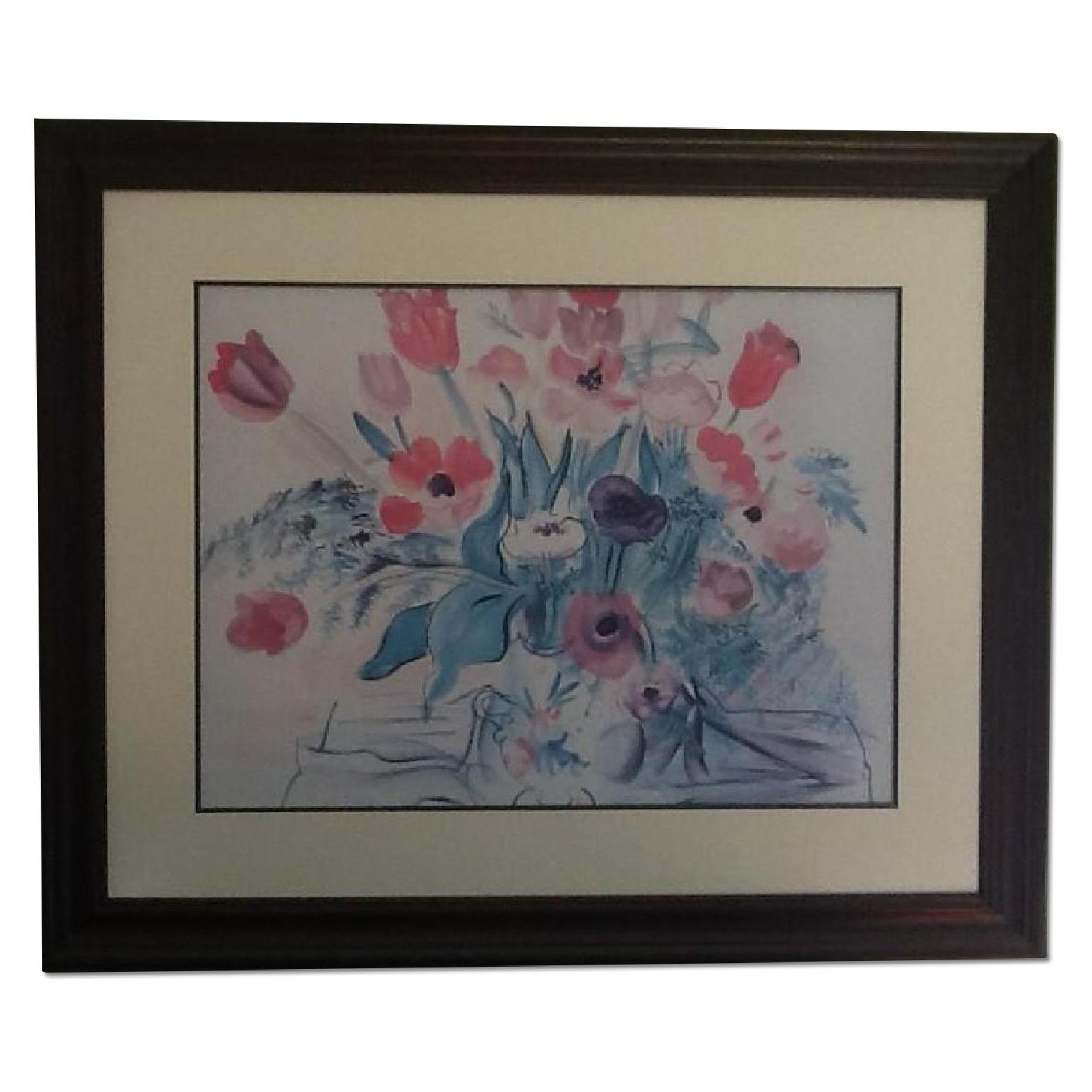 Framed & Matted Raoul Dufy Poster - Tulips & Peonies - image-0