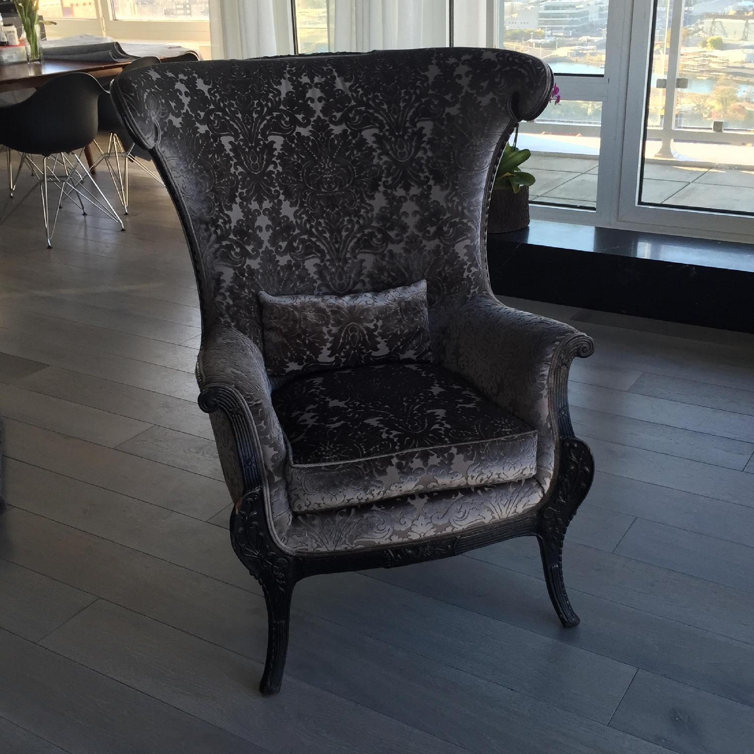 Antique High-Backed Reupholstered Gray Fabric Armchair - image-1
