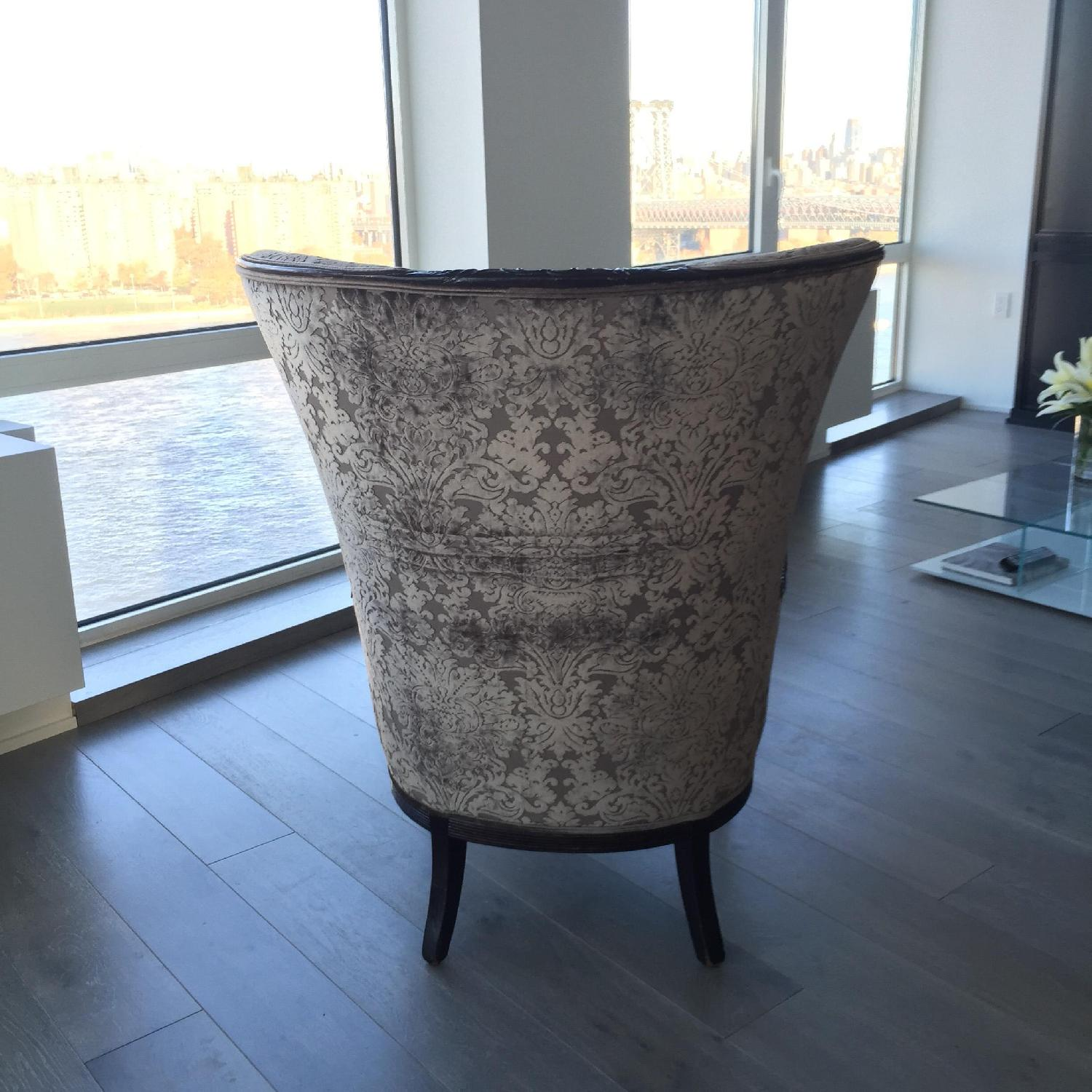 Antique High-Backed Reupholstered Gray Fabric Armchair - image-4