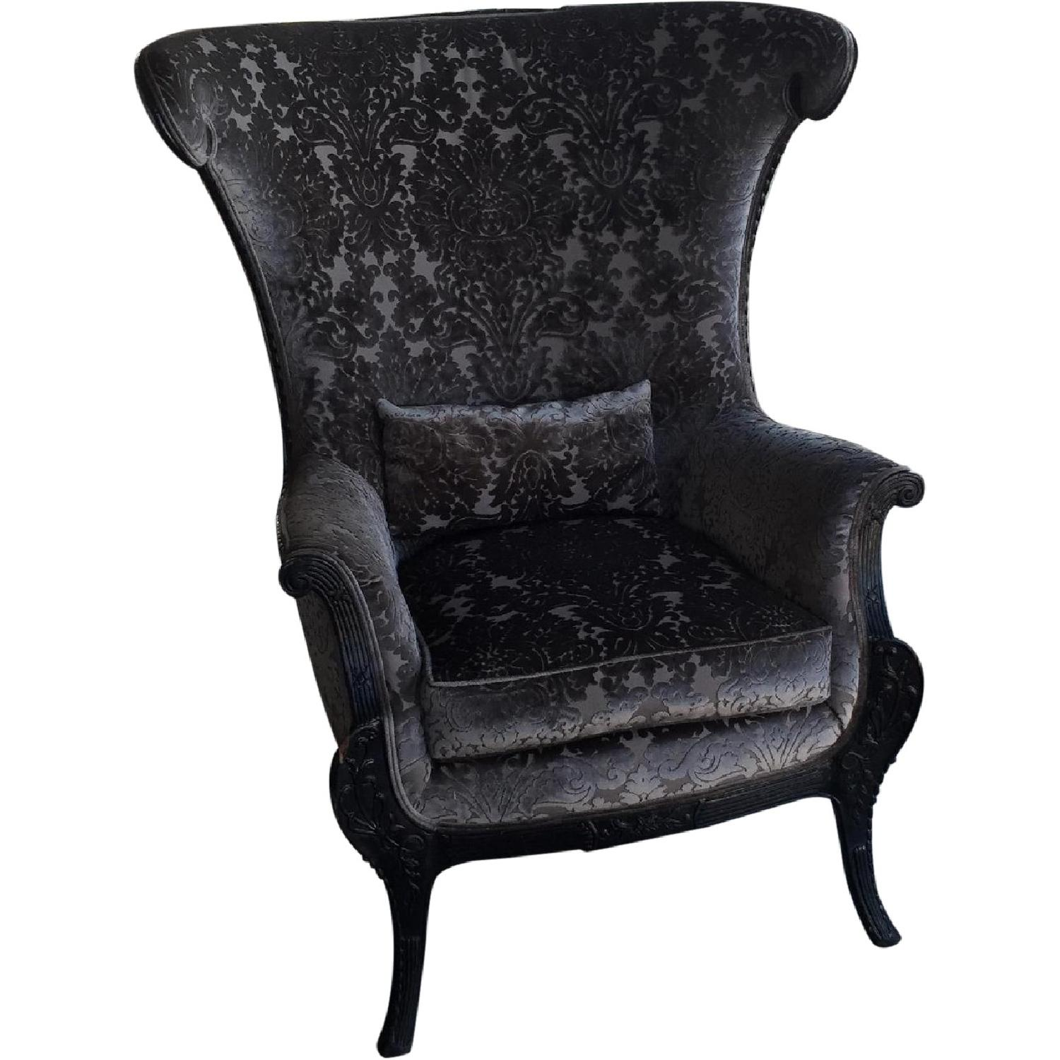 Antique High-Backed Reupholstered Gray Fabric Armchair - image-0