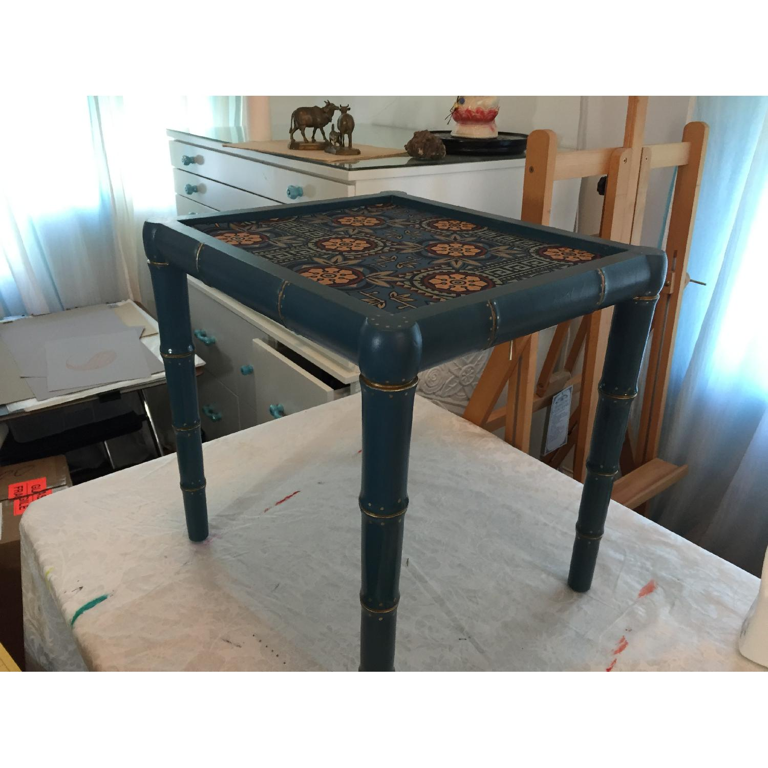 Wood Hand Painted Faux Bamboo Glass Topped Side Tables - Pair - image-1