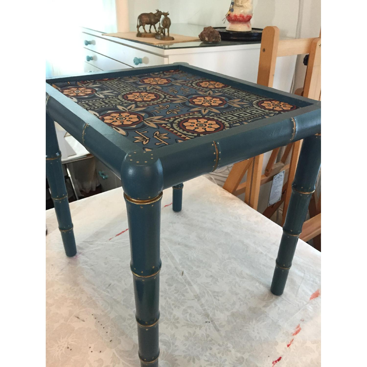 Wood Hand Painted Faux Bamboo Glass Topped Side Tables - Pair - image-2