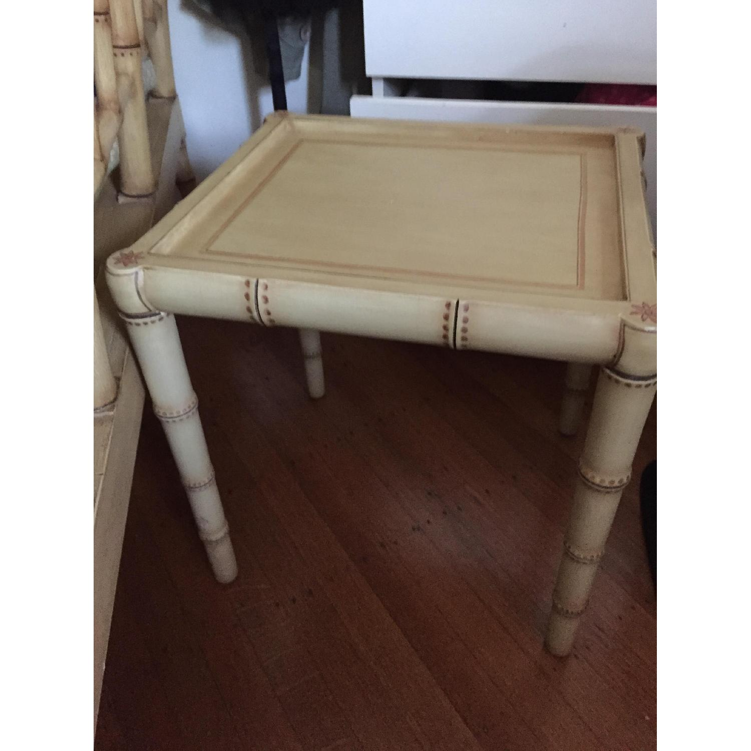 Wood Hand Painted Faux Bamboo Glass Topped Side Tables - Pair - image-3