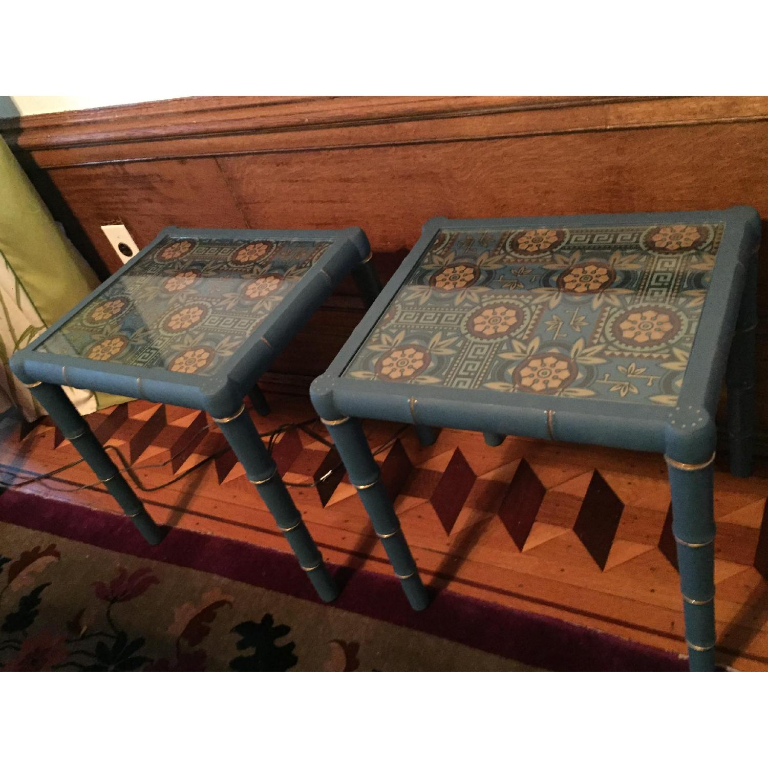 Wood Hand Painted Faux Bamboo Glass Topped Side Tables - Pair - image-4