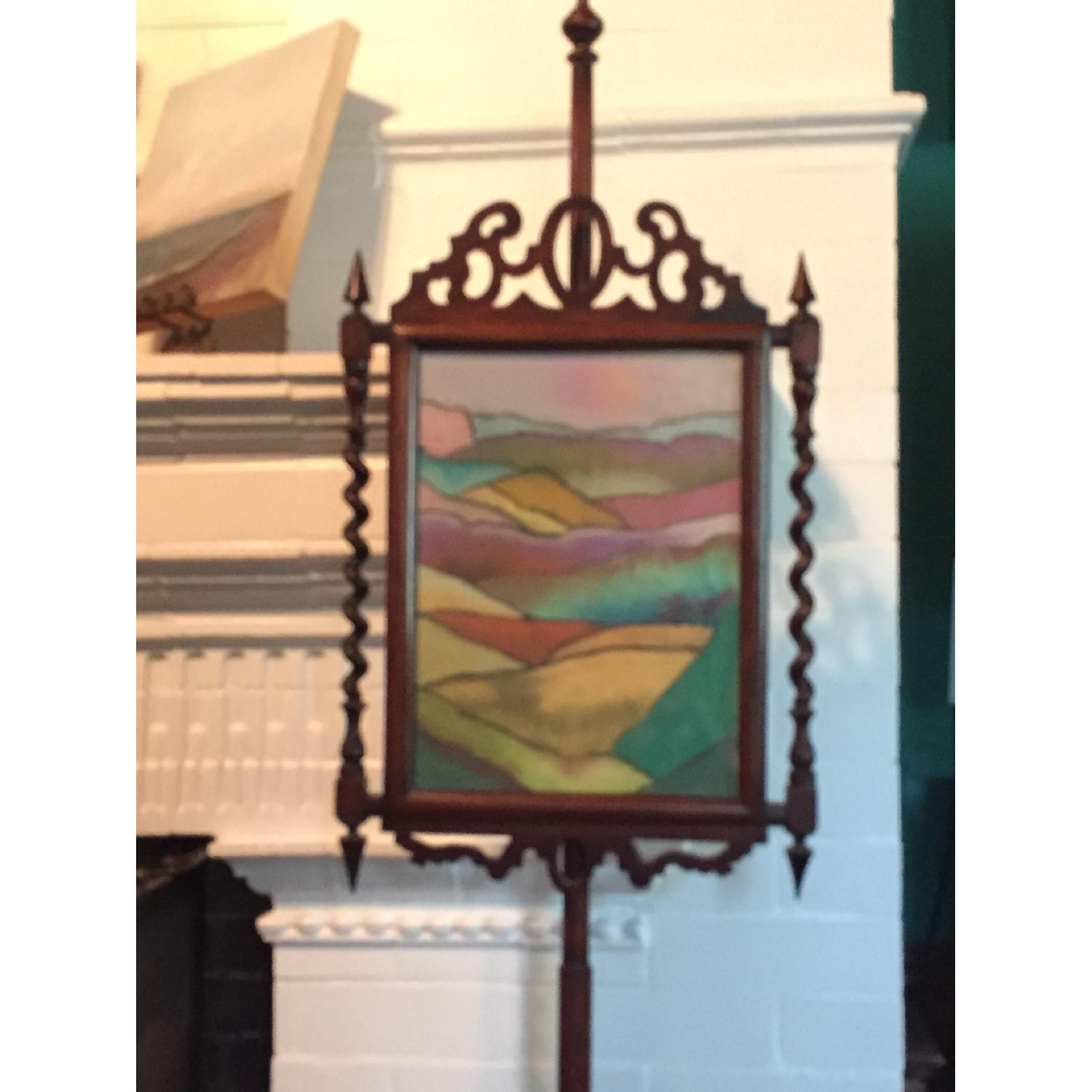 Victorian Free Standing Fireplace Screen Framed with Contemporary Pastel Drawing - image-3
