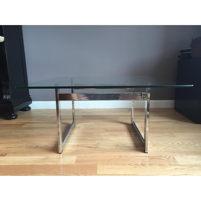 Vintage Milo Baughman-Style Chrome/Glass Coffee Table - image-2