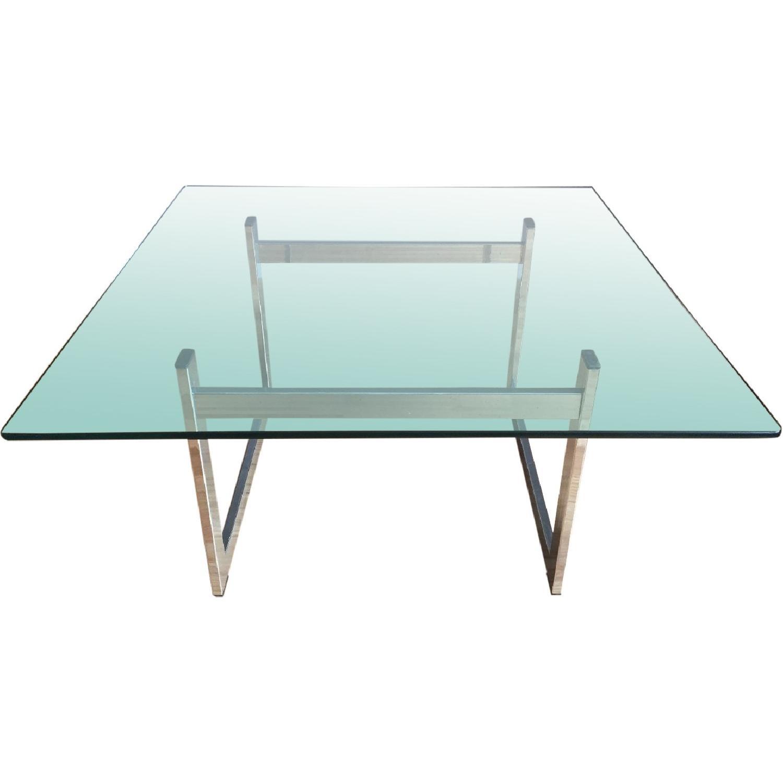 Vintage Milo Baughman-Style Chrome/Glass Coffee Table - image-0