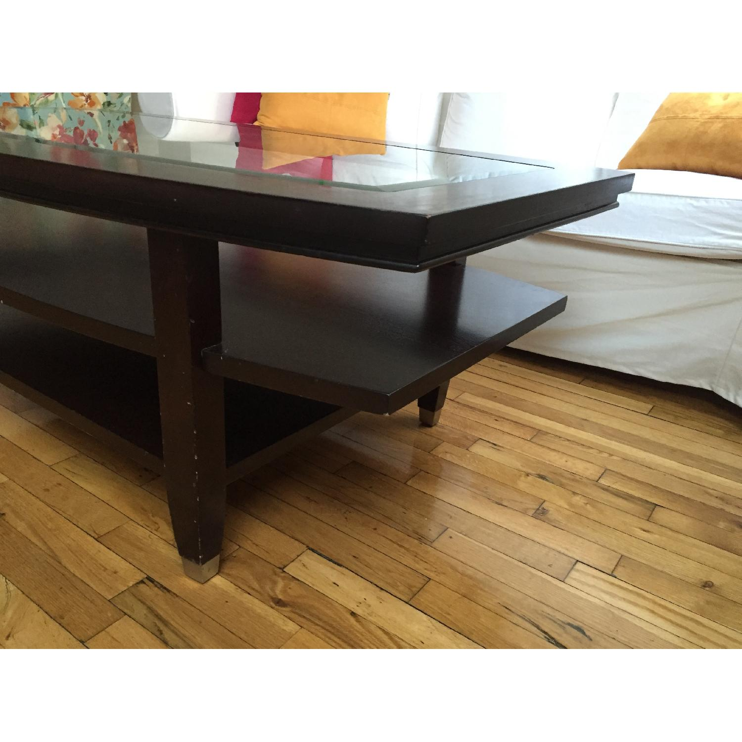 Wooden Glass Top Coffee Table - image-1