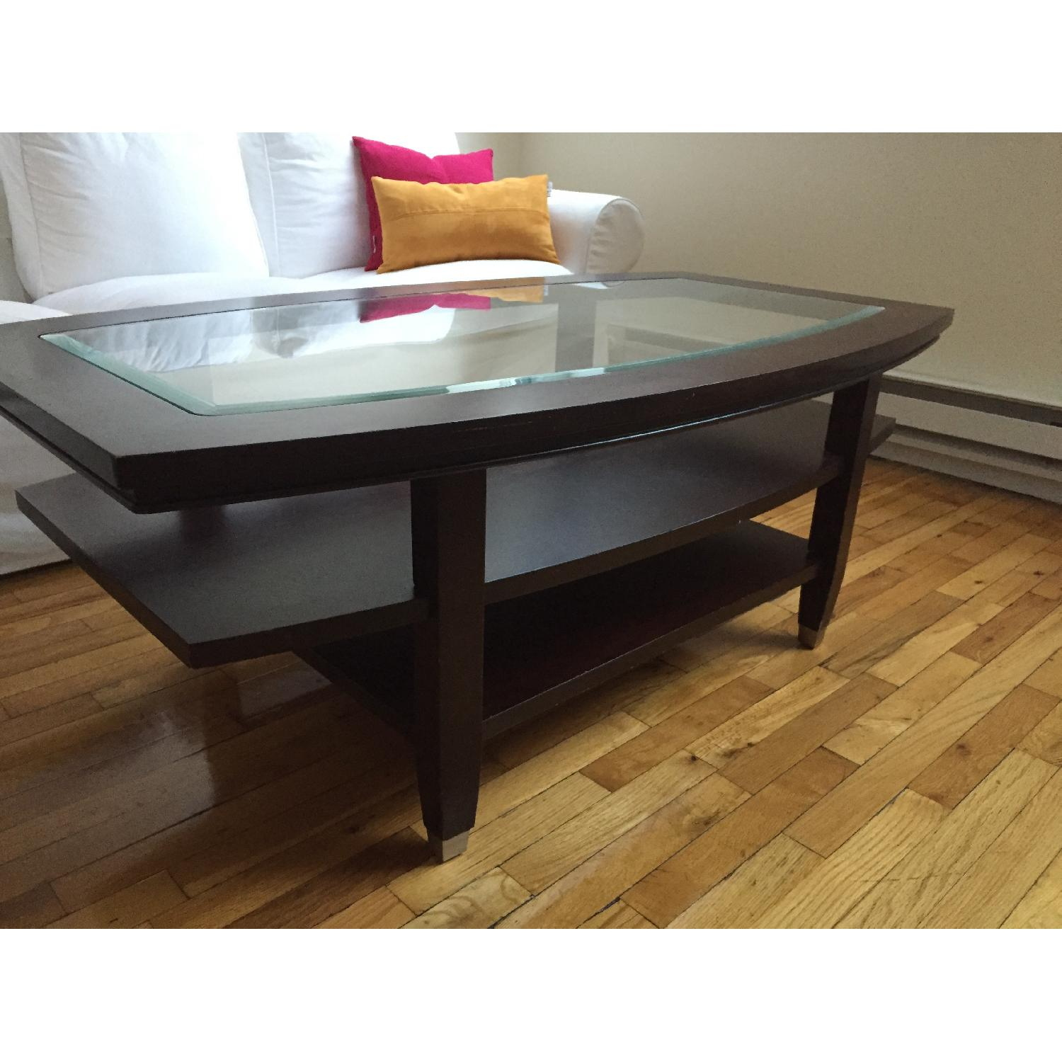 Wooden Glass Top Coffee Table - image-3