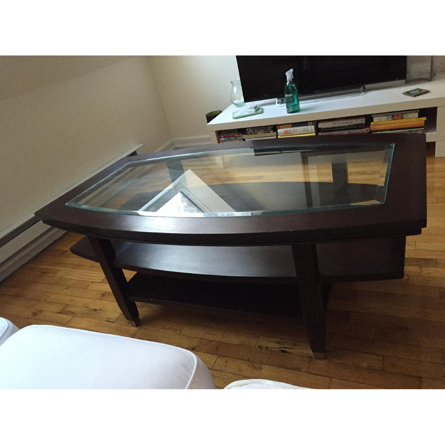 Wooden Glass Top Coffee Table - image-5