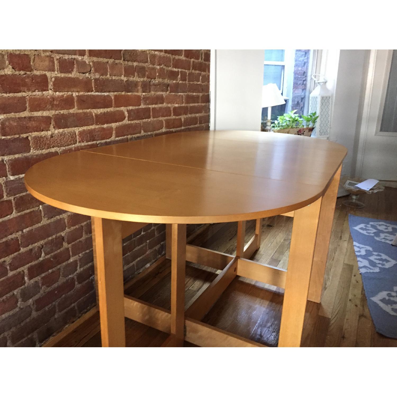 Crate & Barrel Light-Wood Drop-Leaf Kitchen Table
