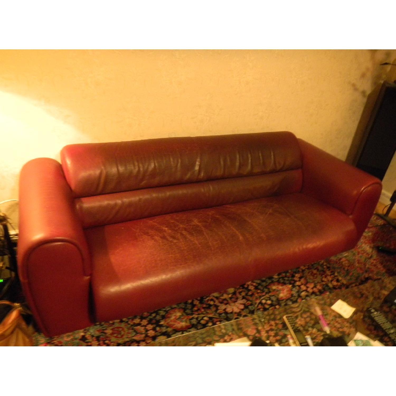 Bruehl Sumo Leather Sofa in Burgundy - image-1