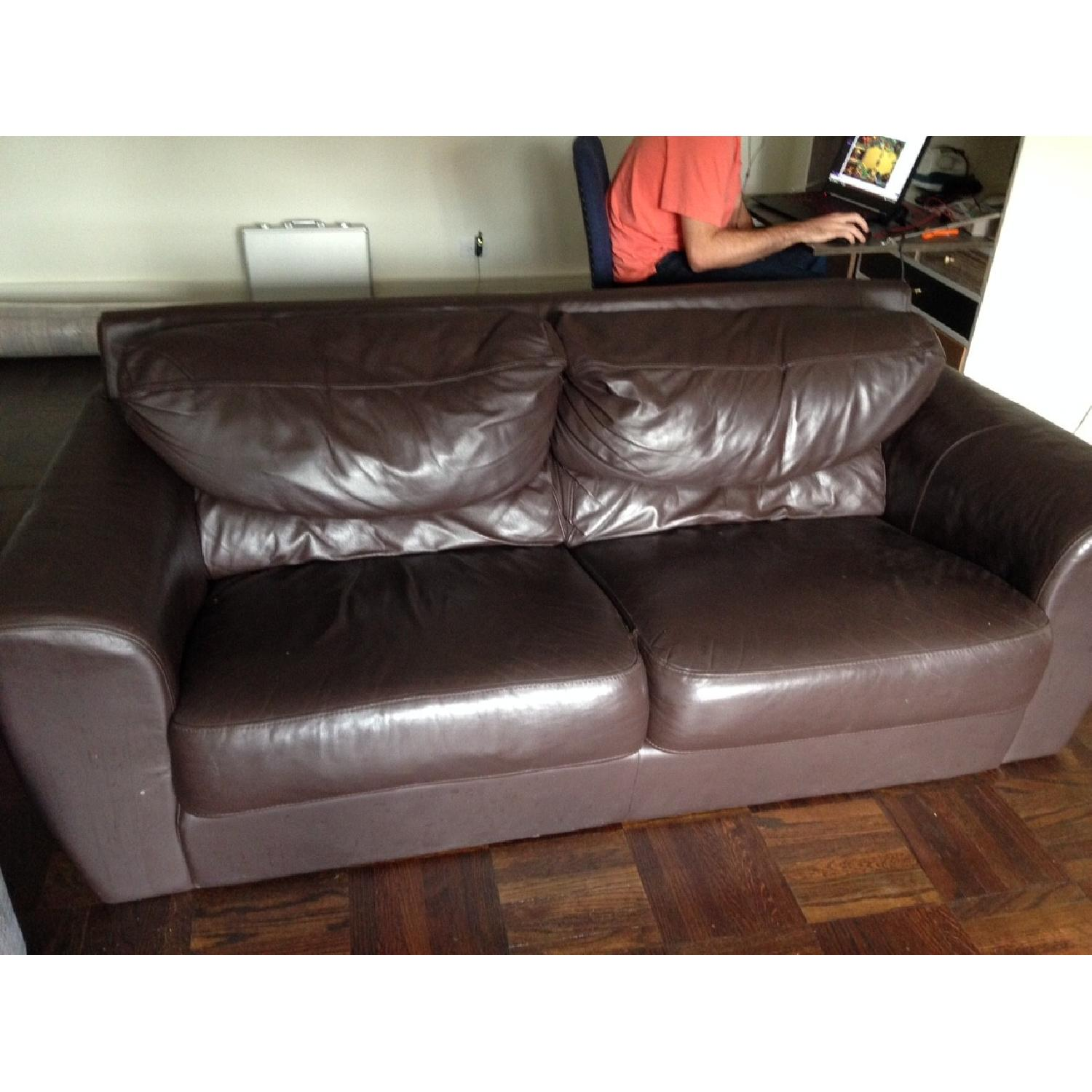 Ikea Leather Loveseat/Couch - image-1