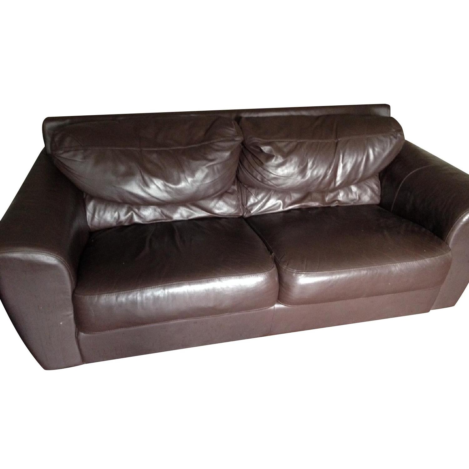 Ikea Leather Loveseat/Couch - image-0