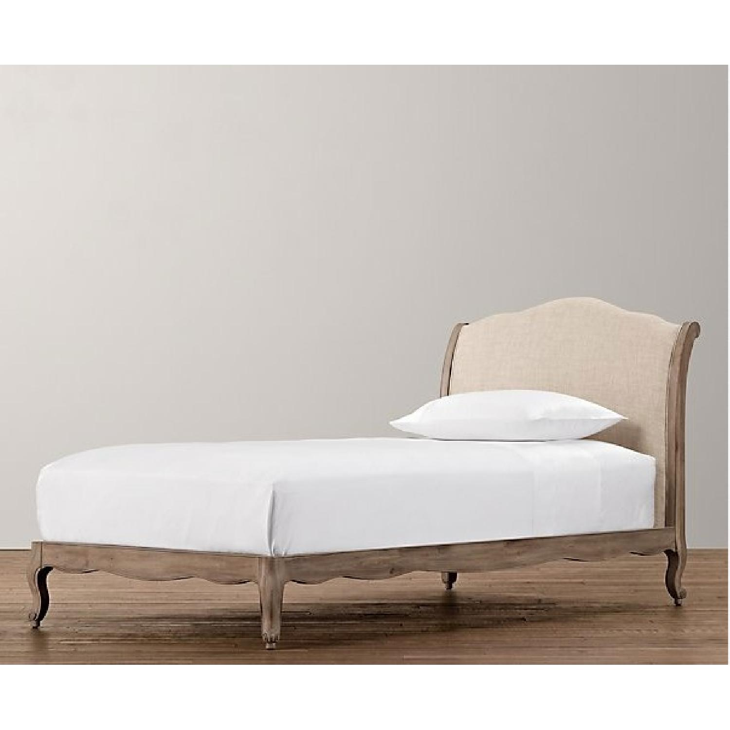 Restoration Hardware Lea Upholstered Twin Size Platform Beds - Pair - image-1