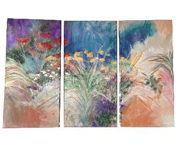 Original Modern Art Oil Painting English Spring Garden - 3 Canvas Panels