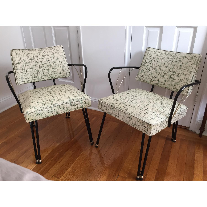 Viko Furniture Corp 1950s Mid Century Vinyl Atomic Low Back Metal Chairs - Pair - image-1