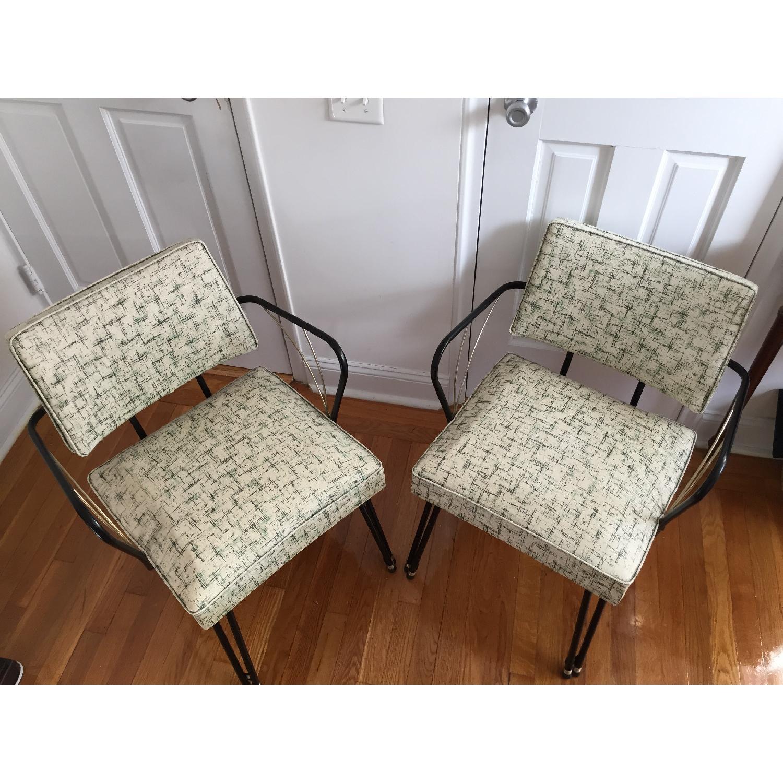 Viko Furniture Corp 1950s Mid Century Vinyl Atomic Low Back Metal Chairs - Pair - image-2