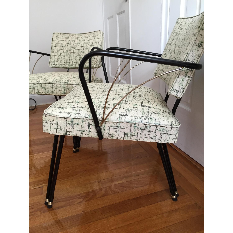 Viko Furniture Corp 1950s Mid Century Vinyl Atomic Low Back Metal Chairs - Pair - image-3