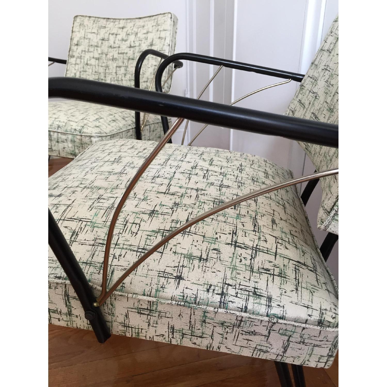 Viko Furniture Corp 1950s Mid Century Vinyl Atomic Low Back Metal Chairs - Pair - image-4