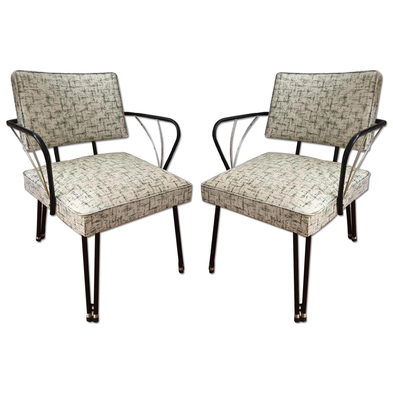 Viko Furniture Corp 1950s Mid Century Vinyl Atomic Low Back Metal Chairs - Pair - image-0